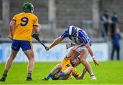 6 September 2020; Feargal Breathnach of Na Fianna, supported by team-mate Conor McHugh, is tackled by Conal Keaney of Ballyboden St Enda's during the Dublin County Senior Hurling Championship Semi-Final match between Ballyboden St Enda's and Na Fianna at Parnell Park in Dublin. Photo by Piaras Ó Mídheach/Sportsfile