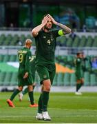 6 September 2020; Shane Duffy of Republic of Ireland reacts after heading over at a corner during the UEFA Nations League B match between Republic of Ireland and Finland at the Aviva Stadium in Dublin. Photo by Seb Daly/Sportsfile