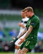6 September 2020; James McClean of Republic of Ireland reacts during the UEFA Nations League B match between Republic of Ireland and Finland at the Aviva Stadium in Dublin. Photo by Seb Daly/Sportsfile