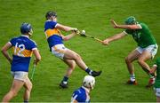 6 September 2020; Fintan Purcell of Drom & Inch blocks a shot by Bryan McLoughney of Kiladangan during the Tipperary County Senior Hurling Championship Semi-Final match between Kiladangan and Drom & Inch at Semple Stadium in Thurles, Tipperary. Photo by Ramsey Cardy/Sportsfile