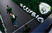 6 September 2020; Shane Duffy of Republic of Ireland leads his side out ahead of the UEFA Nations League B match between Republic of Ireland and Finland at the Aviva Stadium in Dublin. Photo by Stephen McCarthy/Sportsfile