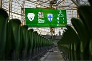 6 September 2020; A view of the scoreboard following the UEFA Nations League B match between Republic of Ireland and Finland at the Aviva Stadium in Dublin. Photo by Stephen McCarthy/Sportsfile