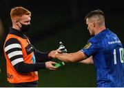 4 September 2020; Jonathan Sexton, right, with Ciarán Frawley of Leinster during the Guinness PRO14 Semi-Final match between Leinster and Munster at the Aviva Stadium in Dublin. Photo by David Fitzgerald/Sportsfile