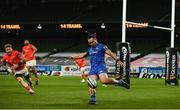 4 September 2020; James Lowe of Leinster during the Guinness PRO14 Semi-Final match between Leinster and Munster at the Aviva Stadium in Dublin. Photo by David Fitzgerald/Sportsfile