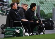 6 September 2020; Republic of Ireland coach Damien Duff, centre, with goalkeeping coach Alan Kelly, left, and coach Keith Andrews, right, during the UEFA Nations League B match between Republic of Ireland and Finland at the Aviva Stadium in Dublin. Photo by Stephen McCarthy/Sportsfile
