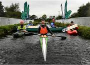 15 September 2020; Irish sprint canoeist Jenny Egan, centre, pictured with, from left, Lee Harding of Monasterevin Blueway Kayak Club, Canoeing Ireland Board Member Lynda Byron, Canoeing Ireland CEO Moira Aston and Special Olympics Canoeing Medallist Oisin Feery at the launch of the #BeActive Paddle day at Monasterevin on the Grand Canal in Kildare. For the European Week of Sport (23rd-30th September), Canoeing Ireland, in partnership with Sport Ireland, wants to get people out and active on the water. The #BeActive Paddle Day takes place on Saturday, 26th September, with over 30 Canoeing Ireland affiliated clubs and Outdoor Education Centres across the country hosting beginner sessions for the public in their area to come and try paddlesports. Further event details and a map of nationwide locations are available on the Canoeing Ireland website at canoe.ie. Photo by Harry Murphy/Sportsfile