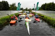 15 September 2020; Irish sprint canoeist Jenny Egan, centre, pictured with Paul Ashmore, Lee Harding and Eoghan O'Huallachain of Monasterevin Blueway Kayak Club, Special Olympics Canoeing Medallist Oisin Feery, Bridge the Gap and Women in Sport Ambassador Jessica Flinter, Kildare Sports Hub Coordinator Debora Foley, Mark Hoare of UCD Kayak Club, Canoeing Ireland Training Centre Instructor Graham Connor, Lynda Byron Board of Canoeing Ireland and Canoeing Ireland CEO Moira Aston at the launch of the #BeActive Paddle day at Monasterevin on the Grand Canal in Kildare. For the European Week of Sport (23rd-30th September), Canoeing Ireland, in partnership with Sport Ireland, wants to get people out and active on the water. The #BeActive Paddle Day takes place on Saturday, 26th September, with over 30 Canoeing Ireland affiliated clubs and Outdoor Education Centres across the country hosting beginner sessions for the public in their area to come and try paddlesports. Further event details and a map of nationwide locations are available on the Canoeing Ireland website at canoe.ie. Photo by Harry Murphy/Sportsfile