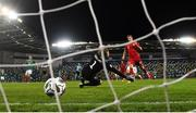 7 September 2020; Alexander Sørloth of Norway scores his side's fourth goal past Northern Ireland goalkeeper Bailey PeacockFarrell during the UEFA Nations League B match between Northern Ireland and Norway at the National Football Stadium at Windsor Park in Belfast. Photo by Stephen McCarthy/Sportsfile