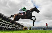 9 September 2020; Getaway Gorgeous, with David Mullins up, jumps the last on their way to winning the Irish Daily Mirror Mares Novice Hurdle at Punchestown Racecourse in Kildare. Photo by Seb Daly/Sportsfile