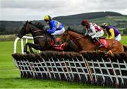 9 September 2020; Running Skeard, left, with Daniel Holden up, leads Therellalwaysbeone, centre, with Cathal Landers up, and eventual winner Scalino, behind, with Mikey Fogarty up, as they jump the sixth during the Baltreacy Handicap Hurdle DIV II at Punchestown Racecourse in Kildare. Photo by Seb Daly/Sportsfile