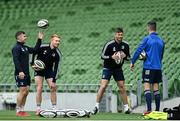 11 September 2020; Leinster players, from left, Luke McGrath, Ciarán Frawley, Ross Byrne and Jonathan Sexton during the Leinster Rugby captains run at the Aviva Stadium in Dublin. Photo by Ramsey Cardy/Sportsfile