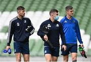 11 September 2020; Ross Byrne, left, Luke McGrath, centre, and Jonathan Sexton arrive for the Leinster Rugby captains run at the Aviva Stadium in Dublin. Photo by Ramsey Cardy/Sportsfile