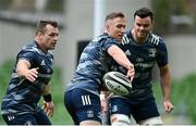 11 September 2020; Rory O'Loughlin, centre, Cian Healy, left, and James Ryan during the Leinster Rugby captains run at the Aviva Stadium in Dublin. Photo by Ramsey Cardy/Sportsfile