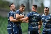 11 September 2020; Jack Conan, left, Ross Byrne, centre, and Rónan Kelleher during the Leinster Rugby captains run at the Aviva Stadium in Dublin. Photo by Ramsey Cardy/Sportsfile