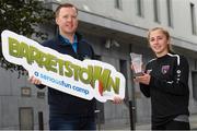 11 September 2020; Wexford Youths midfielder Ellen Molloy picks up the Barretstown / Women's National League Player of the Month award for August, presented by Barretstown Director of Development Tim O'Dea. Photo by Matt Browne/Sportsfile