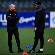 11 September 2020; Dundalk opposition analyst Shane Keegan, left, in conversation with Dundalk interim head coach Filippo Giovagnoli ahead of the SSE Airtricity League Premier Division match between Dundalk and Shelbourne at Oriel Park in Dundalk, Louth. Photo by Ben McShane/Sportsfile