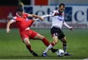 11 September 2020; Stefan Colovic of Dundalk in action against Alex O'Hanlon of Shelbourne during the SSE Airtricity League Premier Division match between Dundalk and Shelbourne at Oriel Park in Dundalk, Louth. Photo by Ben McShane/Sportsfile