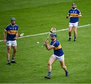 6 September 2020; Billy Seymour, centre, supported by Kiladangan team-mates Joe Gallagher, left, and Willie Connors during the Tipperary County Senior Hurling Championship Semi-Final match between Kiladangan and Drom & Inch at Semple Stadium in Thurles, Tipperary. Photo by Ramsey Cardy/Sportsfile