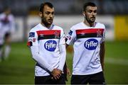 11 September 2020; Stefan Colovic, left, and Michael Duffy of Dundalk during the SSE Airtricity League Premier Division match between Dundalk and Shelbourne at Oriel Park in Dundalk, Louth. Photo by Ben McShane/Sportsfile