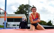 12 September 2020; Anna McCauley of City of Lisburn AC, Down, celebrates a clearance whilst competing in the High Jump event of the Senior Women's Heptathlon  during day one of the Irish Life Health Combined Event Championships at Morton Stadium in Santry, Dublin. Photo by Sam Barnes/Sportsfile