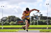 12 September 2020; Troy McConville of North Down AC, competing in the Shot Put event of the Junior  Men's Decathlon during day one of the Irish Life Health Combined Event Championships at Morton Stadium in Santry, Dublin. Photo by Sam Barnes/Sportsfile
