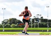 12 September 2020; Darragh Miniter of Nenagh Olympic AC, Tipperary, competing in the Shot Put event of the Junior Men's Decathlon  during day one of the Irish Life Health Combined Event Championships at Morton Stadium in Santry, Dublin. Photo by Sam Barnes/Sportsfile