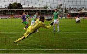 12 September 2020; Aaron Greene of Shamrock Rovers heads his side's first goal past Cork City goalkeeper Mark McNulty during the SSE Airtricity League Premier Division match between Cork City and Shamrock Rovers at Turners Cross in Cork. Photo by Stephen McCarthy/Sportsfile