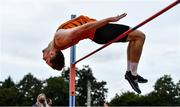 12 September 2020; Joseph McEvoy of Nenagh Olympic AC, Tipperary, competing in the High Jump event of the Junior Men's Decathlon during day one of the Irish Life Health Combined Event Championships at Morton Stadium in Santry, Dublin. Photo by Sam Barnes/Sportsfile