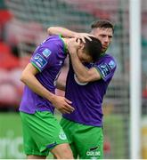 12 September 2020; Neil Farrugia, left, is congratulated by Shamrock Rovers team-mate Jack Byrne after scoring their third goal during the SSE Airtricity League Premier Division match between Cork City and Shamrock Rovers at Turners Cross in Cork. Photo by Stephen McCarthy/Sportsfile