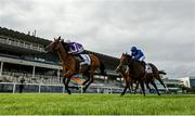 12 September 2020; Magical, left, with Seamie Heffernan up, races alongside eventual second place and favourite Ghaiyyath, right, with William Buick up, on their way to winning the Irish Champion Stakes during day one of The Longines Irish Champions Weekend at Leopardstown Racecourse in Dublin. Photo by Seb Daly/Sportsfile