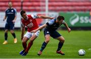 12 September 2020; David Cawley of Sligo Rovers in action against Robbie Benson of St Patrick's Athletic during the SSE Airtricity League Premier Division match between St. Patrick's Athletic and Sligo Rovers at Richmond Park in Dublin. Photo by Ben McShane/Sportsfile