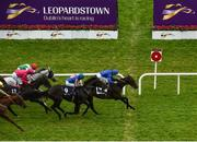 12 September 2020; Halimi, with Kevin Manning up, passes the post ahead of second place Shoshone Warrior, with Wayne Lordan up, to win the Irish Stallion Farms EBF 'Petingo' Handicap during day one of The Longines Irish Champions Weekend at Leopardstown Racecourse in Dublin. Photo by Seb Daly/Sportsfile