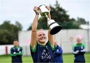 12 September 2020; Foxrock Cabinteely captain Amy Connolly lifts the Michael Murphy Memorial Cup after the Dublin County Senior Ladies Football Championship Final match between Foxrock Cabinteely and Kilmacud Crokes at Lawless Memorial Park in Fingallians GAA, Swords, Dublin. Photo by Piaras Ó Mídheach/Sportsfile