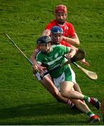 12 September 2020; Graeme Mulcahy of Kilmallock in action against Chris Thomas and Tommy Hayes of Doon during the Limerick County Senior Hurling Championship Semi-Final match between Doon and Kilmallock at LIT Gaelic Grounds in Limerick. Photo by Diarmuid Greene/Sportsfile