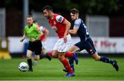 12 September 2020; Robbie Benson of St Patrick's Athletic in action against Niall Morahan of Sligo Rovers during the SSE Airtricity League Premier Division match between St. Patrick's Athletic and Sligo Rovers at Richmond Park in Dublin. Photo by Ben McShane/Sportsfile