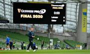 12 September 2020; Jonathan Sexton of Leinster walks the pitch prior to the Guinness PRO14 Final match between Leinster and Ulster at the Aviva Stadium in Dublin. Photo by Brendan Moran/Sportsfile