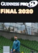 12 September 2020; James Hume of Ulster walks the pitch prior to the Guinness PRO14 Final match between Leinster and Ulster at the Aviva Stadium in Dublin. Photo by Brendan Moran/Sportsfile