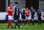 12 September 2020; Robbie Benson of St Patrick's Athletic, left, and Lewis Banks of Sligo Rovers following the SSE Airtricity League Premier Division match between St. Patrick's Athletic and Sligo Rovers at Richmond Park in Dublin. Photo by Ben McShane/Sportsfile