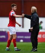 12 September 2020; Rory Feely of St Patrick's Athletic and Sligo Rovers manager Liam Buckley fist-bump following the SSE Airtricity League Premier Division match between St. Patrick's Athletic and Sligo Rovers at Richmond Park in Dublin. Photo by Ben McShane/Sportsfile
