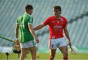 12 September 2020; Pat Ryan of Doon with Aaron Costello of Kilmallock after the Limerick County Senior Hurling Championship Semi-Final match between Doon and Kilmallock at LIT Gaelic Grounds in Limerick. Photo by Diarmuid Greene/Sportsfile