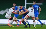 12 September 2020; Rónan Kelleher of Leinster is tackled by Marcell Coetzee, left, and Matthew Rea of Ulster during the Guinness PRO14 Final match between Leinster and Ulster at the Aviva Stadium in Dublin. Photo by Brendan Moran/Sportsfile