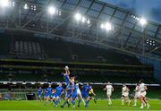 12 September 2020; Hugo Keenan of Leinster wins possession from a high ball during the Guinness PRO14 Final match between Leinster and Ulster at the Aviva Stadium in Dublin. Photo by Ramsey Cardy/Sportsfile