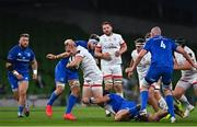 12 September 2020; Jacob Stockdale of Ulster is tackled by Caelan Doris of Leinster during the Guinness PRO14 Final match between Leinster and Ulster at the Aviva Stadium in Dublin. Photo by Ramsey Cardy/Sportsfile