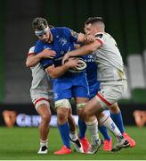 12 September 2020; Caelan Doris of Leinster is dispossessed by James Hume of Ulster during the Guinness PRO14 Final match between Leinster and Ulster at the Aviva Stadium in Dublin. Photo by Brendan Moran/Sportsfile