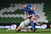 12 September 2020; Ross Byrne of Leinster is tackled by James Hume of Ulster during the Guinness PRO14 Final match between Leinster and Ulster at the Aviva Stadium in Dublin. Photo by Brendan Moran/Sportsfile