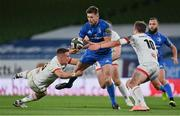 12 September 2020; Ross Byrne of Leinster is tackled by James Hume, left, and Billy Burns of Ulster during the Guinness PRO14 Final match between Leinster and Ulster at the Aviva Stadium in Dublin. Photo by Brendan Moran/Sportsfile