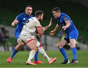 12 September 2020; Stuart McCloskey of Ulster in action against Jack Conan, left, and Jonathan Sexton of Leinster during the Guinness PRO14 Final match between Leinster and Ulster at the Aviva Stadium in Dublin. Photo by Ramsey Cardy/Sportsfile