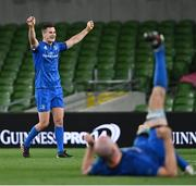 12 September 2020; Jonathan Sexton, left, and Devin Toner of Leinster celebrate at the final whistle after the Guinness PRO14 Final match between Leinster and Ulster at the Aviva Stadium in Dublin. Photo by Ramsey Cardy/Sportsfile