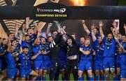 12 September 2020; Rob Kearney, left, and Fergus McFadden, right, of Leinster lift the PRO14 trophy alongside their team-mates after the Guinness PRO14 Final match between Leinster and Ulster at the Aviva Stadium in Dublin. Photo by Brendan Moran/Sportsfile