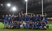 12 September 2020; Leinster players celebrate with the PRO14 trophy after the Guinness PRO14 Final match between Leinster and Ulster at the Aviva Stadium in Dublin. Photo by Ramsey Cardy/Sportsfile
